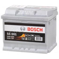 Akumulator Bosch S5 001 12V 52Ah 520A prawy+